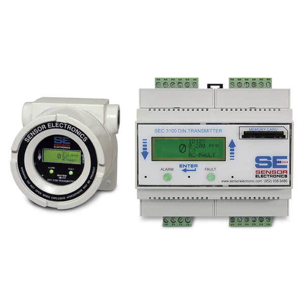 SEC 3100 DIN Digital Gas Transmitter from Sensor Electronics Image
