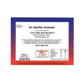 Grade D Breathing Air Certificate